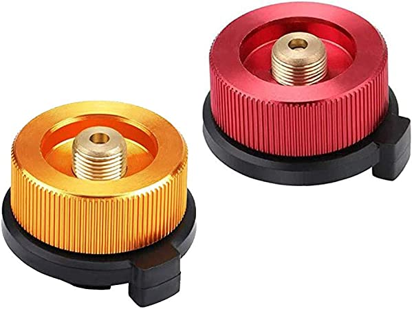 2 Piezas Adaptador de Gas para Acampar, Adaptador de Conexión de la Estufa con Convertidor de Apagado Automático, para Cartucho de Butano para ...