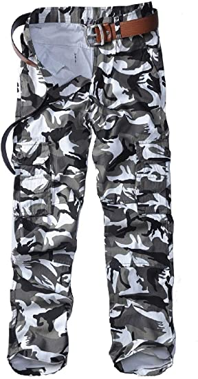 Tootess メンズ リラックス フィット マルチ ポケット アウトウェア カモ ロング パンツ ジョガー パンツ