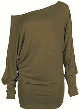 468d3220 Hot Hanger® Womens Oversized Baggy Loose Fit Turn up Batwing Sleeve Tunic  Top T shirt: Amazon.co.uk: Clothing
