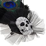 Wedding Xmas Hen Party Peacock Feather Rhinestone Skull Ball Brooch Pin Hat Clip