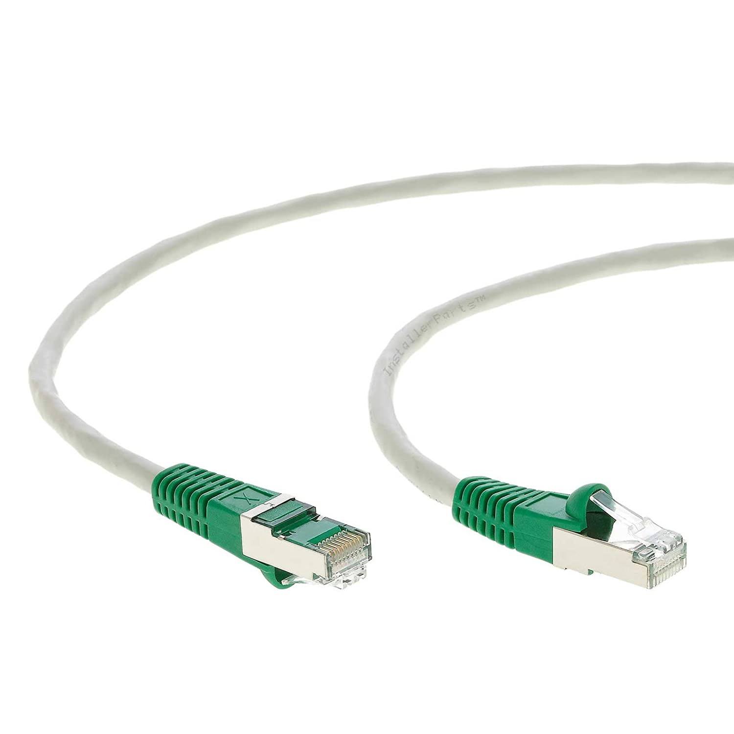 350MHZ Gray w//Green End 10 Pack Professional Series FTP 1Gigabit//Sec Network//Internet Cable Crossover 10 FT Ethernet Cable CAT5E Cable Shielded InstallerParts