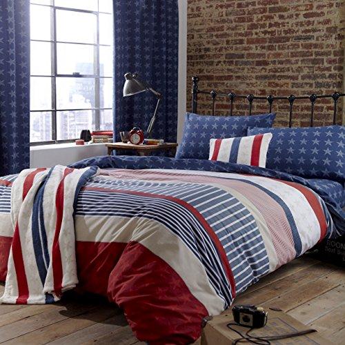 Catherine Lansfield Stars & Stripes - Funda nordica y funda de almohada cama, 220 x 180 cm, color azul