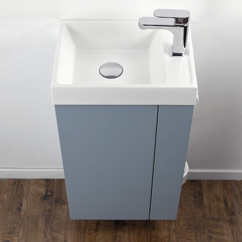 bleu pigeon mat Ensemble de meubles de salle de bain Compact 400 pour toilettes invit/és brosse de toilette /à droite ensemble miroir et poubelle en option