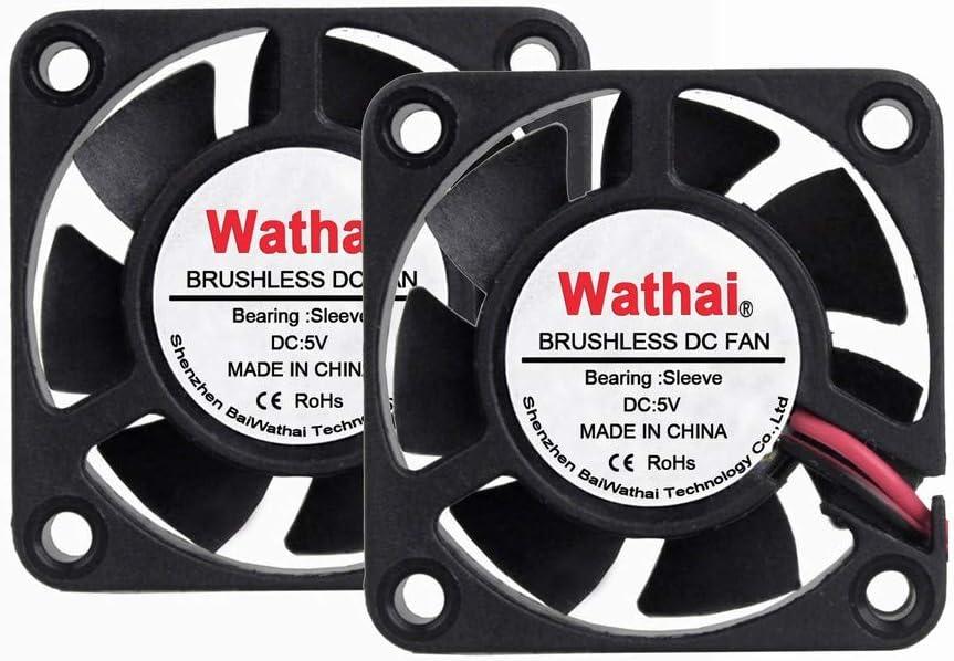 2 Packs Wathai 40mm x 40mm x 10mm 5V Brushless DC Cooling Case Fan