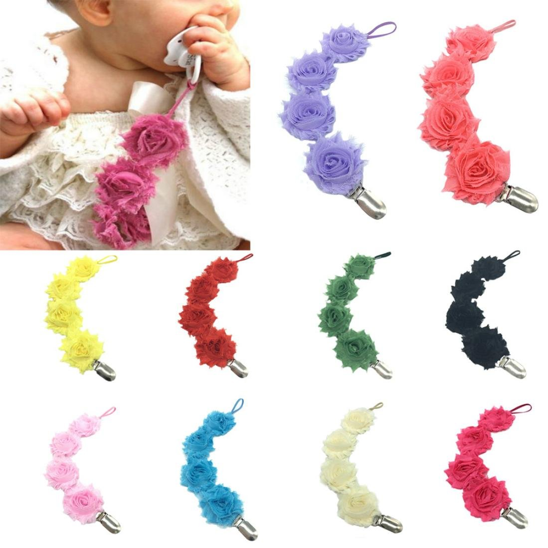Baby Flower Silicone Chain Clip Holders Pacifier Soother Nipple Leash Strap 6A