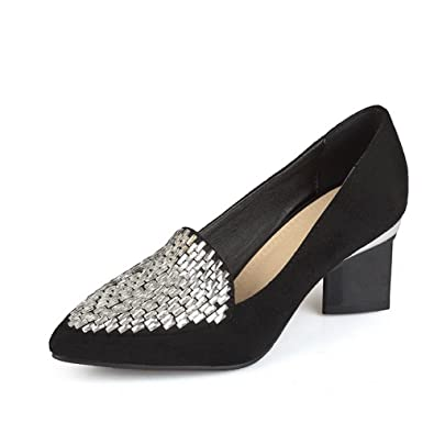 9d7b7f9d607 AgooLar Women s Pointed Closed Toe Pull-on Imitated Suede Solid Kitten-Heels  Pumps