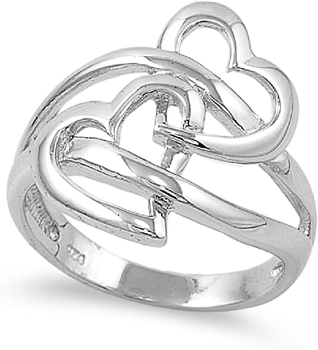 Princess Kylie 925 Sterling Silver Double Heart Design Ring