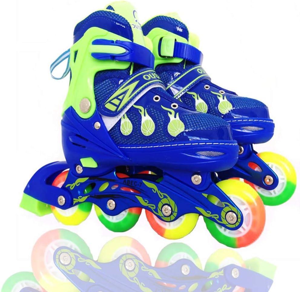 ローラースタータースケートで調整可能なインラインスケート子供男の子と女の子のための楽しい点滅ローラースケート - 2色と3サイズで利用可能。,青,M 青 M