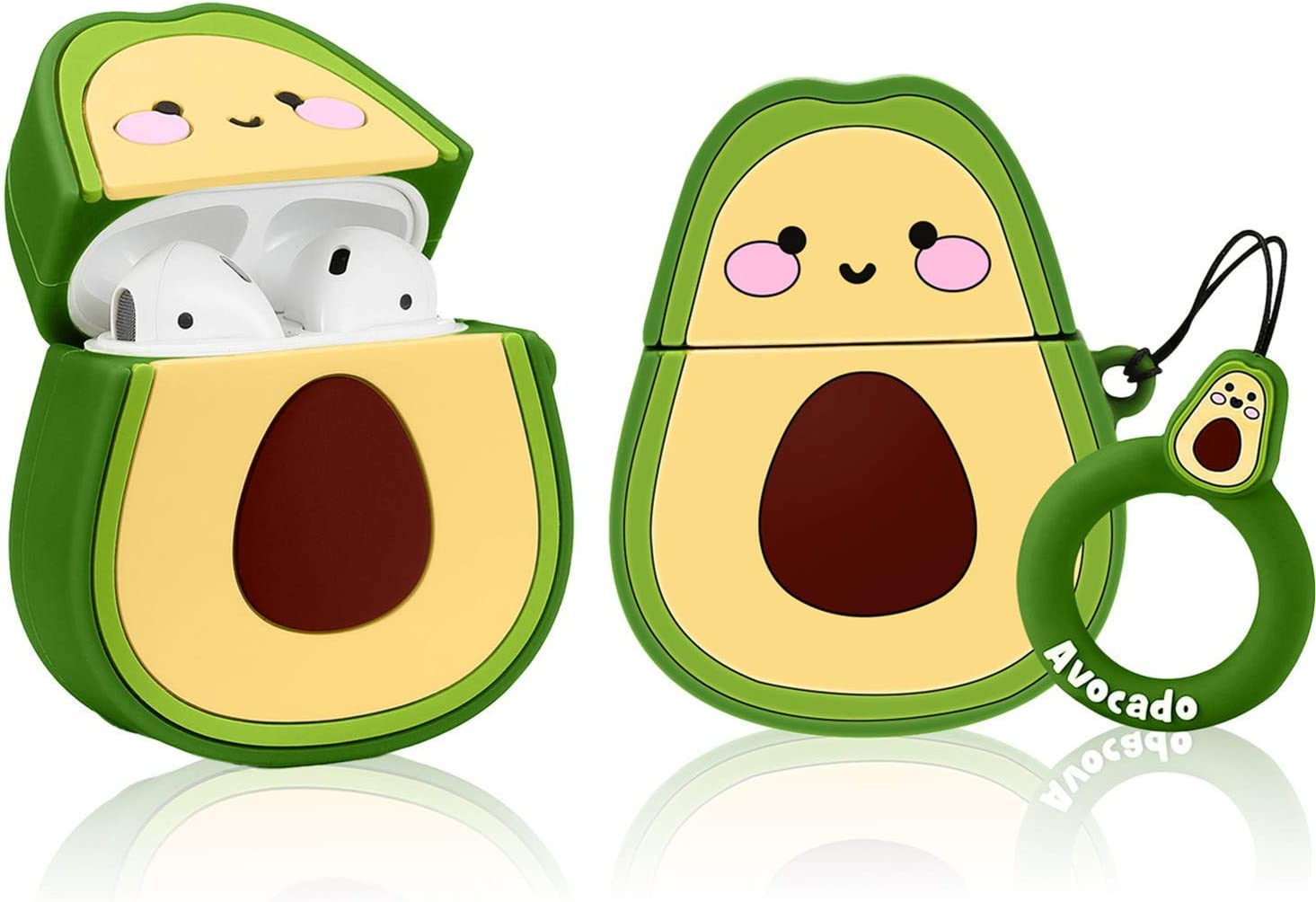 Coralogo Compatible with Airpods 1/2 Cute Case,Cartoon Character Silicone Fruit Airpod Designer Skin Kawaii Funny Fun Cool Keychain Design Cover Kids Teens Air pods Cases for Girls Boys(3D Avocado)