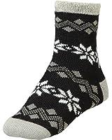 Yaktrax Women's Cozy Cabin Socks Black Grey Cream