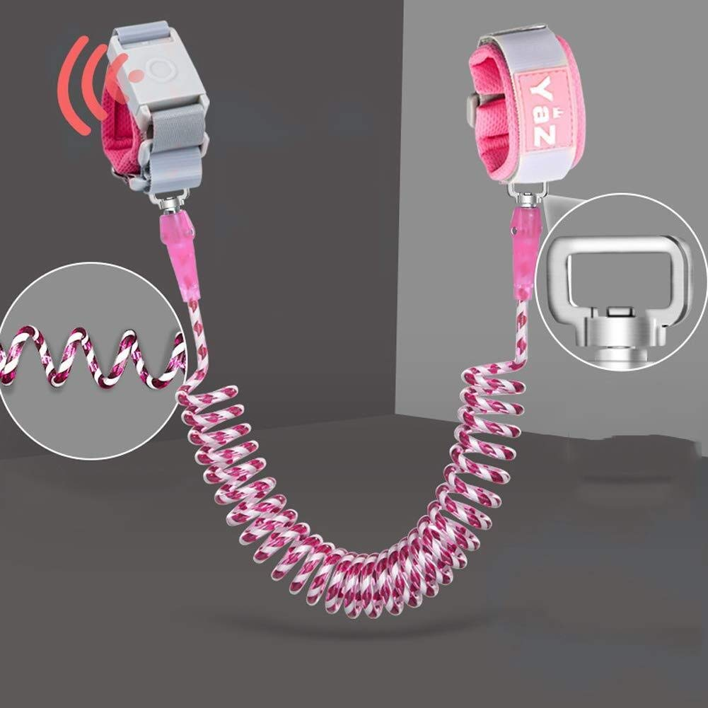 Children Anti-Lost Traction Rope Hand Ring Rotatable Safety Belt (Color : Pink, Size : 2m)