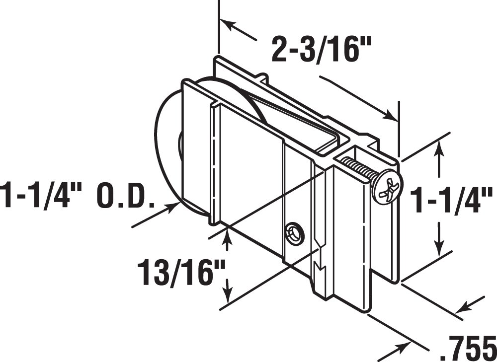 Prime-Line Products D 1732 Sliding Door Roller Assembly with 1-1//4-Inch Steel Ball Bearing
