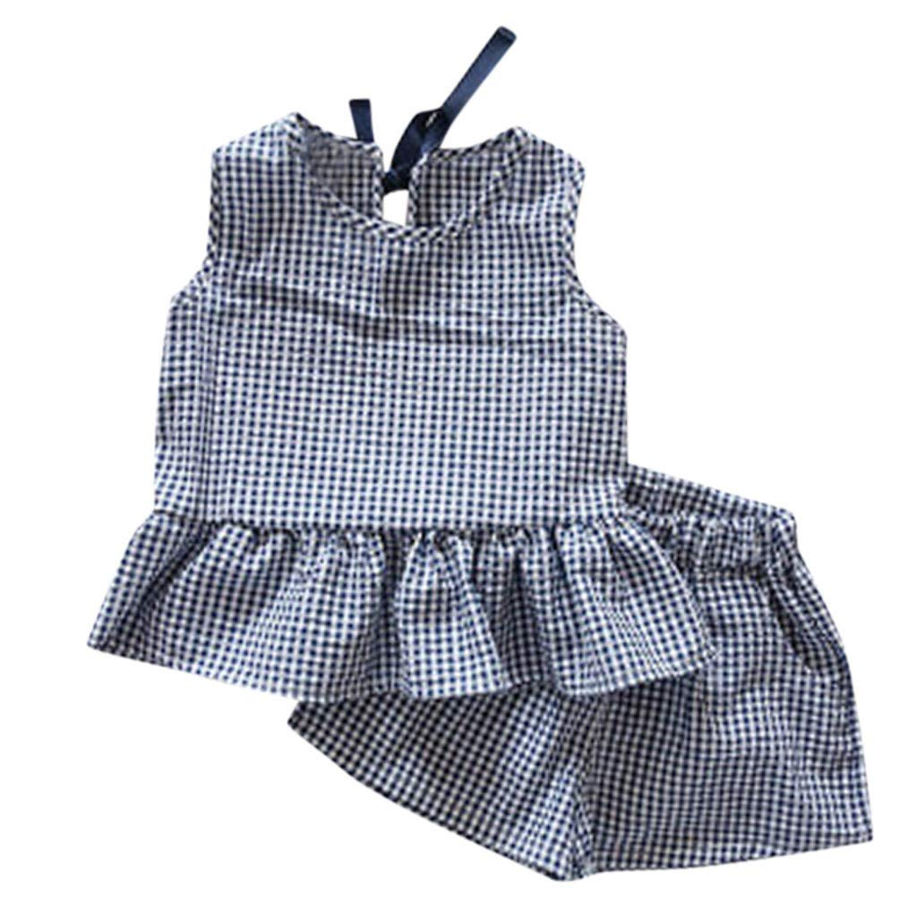 Children Girls Outfits Clothes 2 PC Set Plaid Sleeveless Vest T-Shirt Pockets Elastic Shorts Summer Beach Casual Clothing