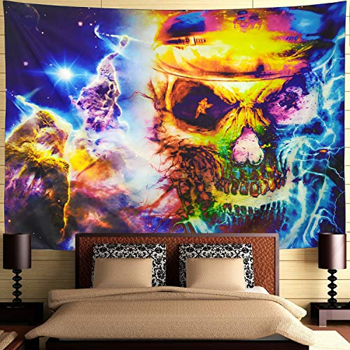 Ameyahud Colorful Skull Tapestry Tie Dye Psychedelic Tapestry Wall Hanging Halloween Skull Wall Art Tapestry Hippie Bohemian Skull Tapestry for Bedroom Living Room - Tapestries Wall Tie Dye
