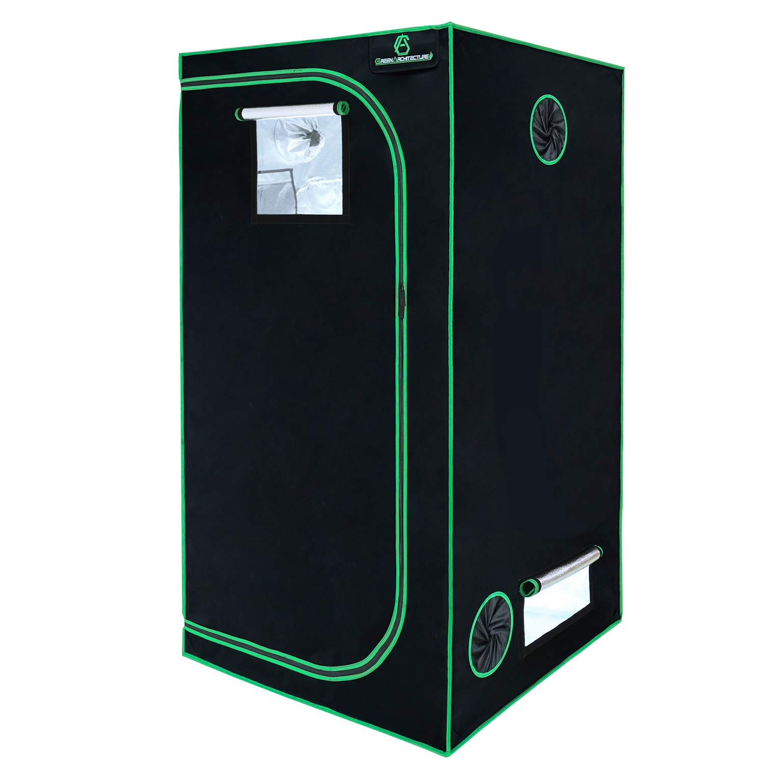 GA Grow Tent 24x24x48 Reflective Mylar Hydroponic Grow Tent with Observation Window and Waterproof Floor Tray for Indoor Plant Growing.2×2 for 1-2 Plants