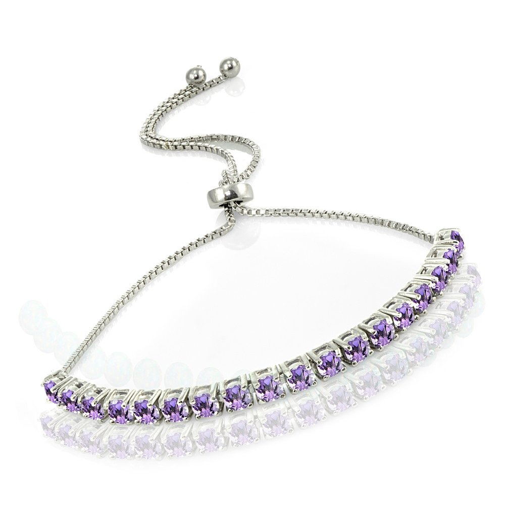 Sterling Silver Amethyst Tennis Style Adjustable Pull-string Bolo Bracelet