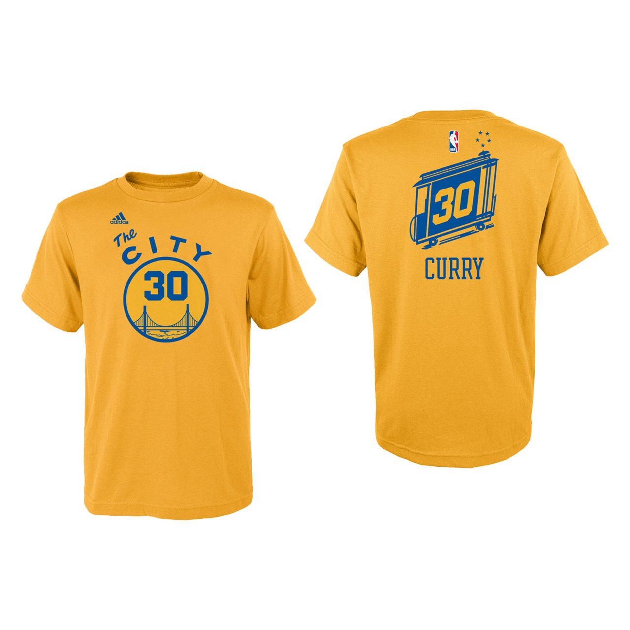 0c1d086e87e55 Golden State Warriors Stephen Curry Adidas Youth Gold The City Shirt Boys  8-20
