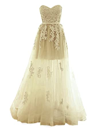 Sarahbridal Womens Tulle A Line Prom Dresses Long 2018 Lace Applique Sweetheart Evening Party Gowns Champagne
