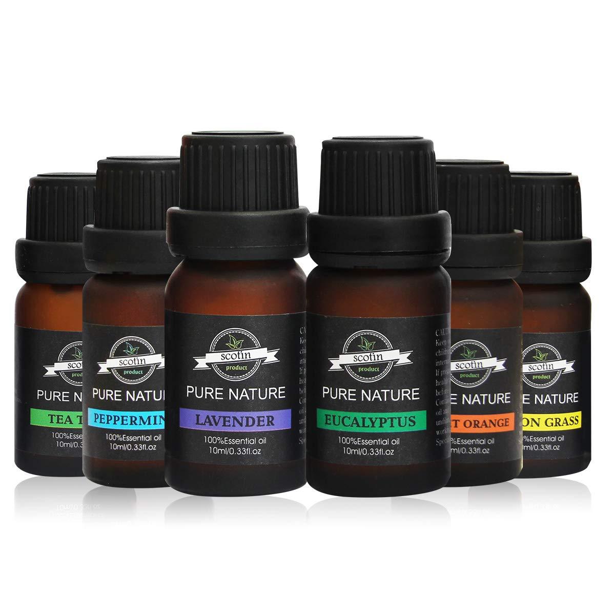 Pure Body Natural Essential Oils Set, Therapeutic Grade Essential Oil (6 Count)