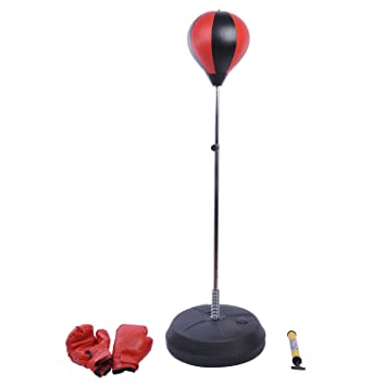 HOMCOM Saco de Boxeo de pie Boxing Ball Entrenamiento MMA Deportes con Guantes y Mancha