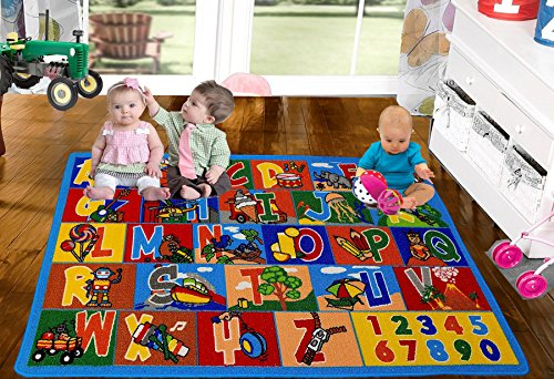 Kids Rug ABC Numbers 8' x 11' Children's Educational Learning Rug - Non Skid Gel Backing (7'10