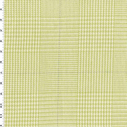 Plaid Glen Fabric (Chartreuse/White/Gray Cotton Glen Plaid Decorating Fabric, Fabric by The Yard)