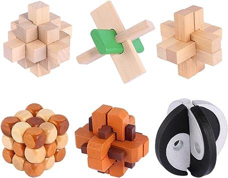 Foxom 6 Piezas Juguetes Rompecabezas de Madera Caja Set - IQ ...