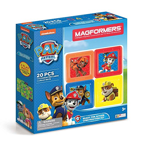 Magformers Paw Patrol 20 Pieces Ready for Action Construction, Rainbow Colors, Educational Magnetic Geometric Shapes Tiles Building STEM Toy Set Ages 3+
