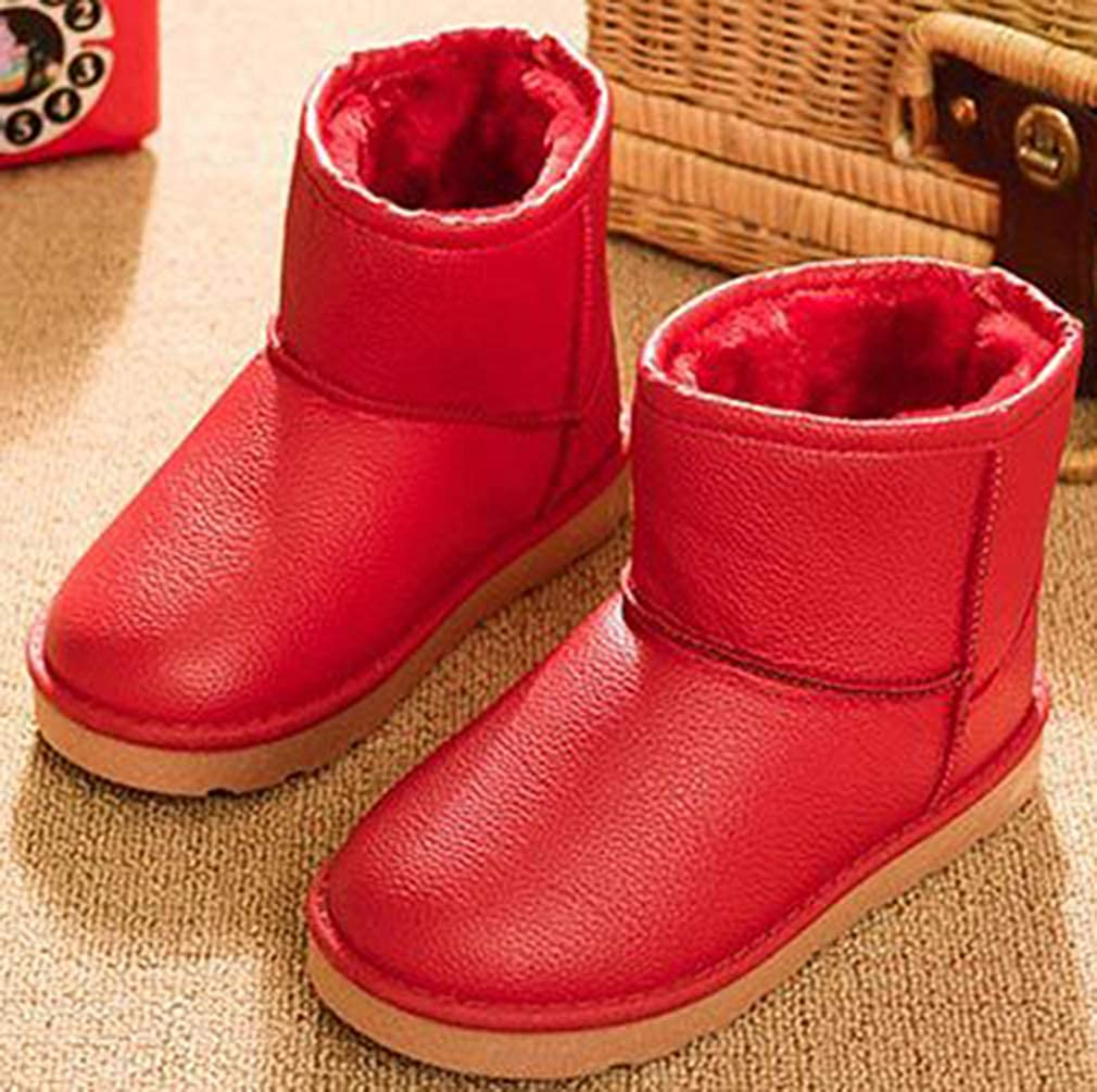 Toddler//Little Kid VECJUNIA Boys Girls Waterproof Faux Fur Lining Ankle Snow Boots Winter Shoes