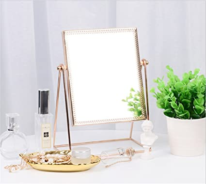 buy popular 86cec 99795 Amazon.com: E-forest hair Makeup Mirror,Metal Rose Gold ...