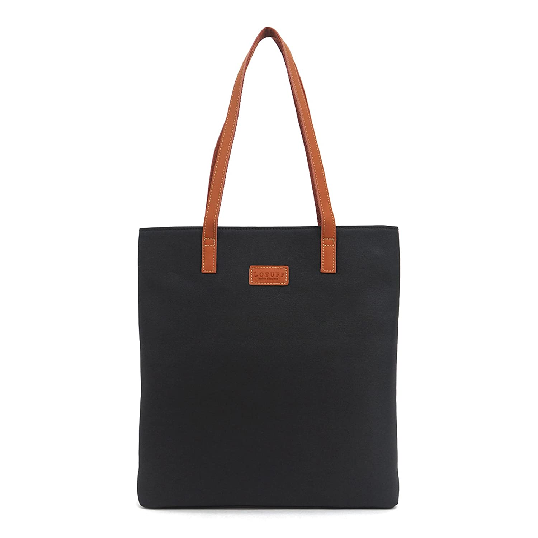 (ロトプ) LOTUFF トートバッグワックスファブリックレザーデイパックメンズレディース LO-2524 男女兼用 (WaxFabric Leather Simple Tote Bag Unisex) [並行輸入品] B01AR6JEYE ブラック ブラック