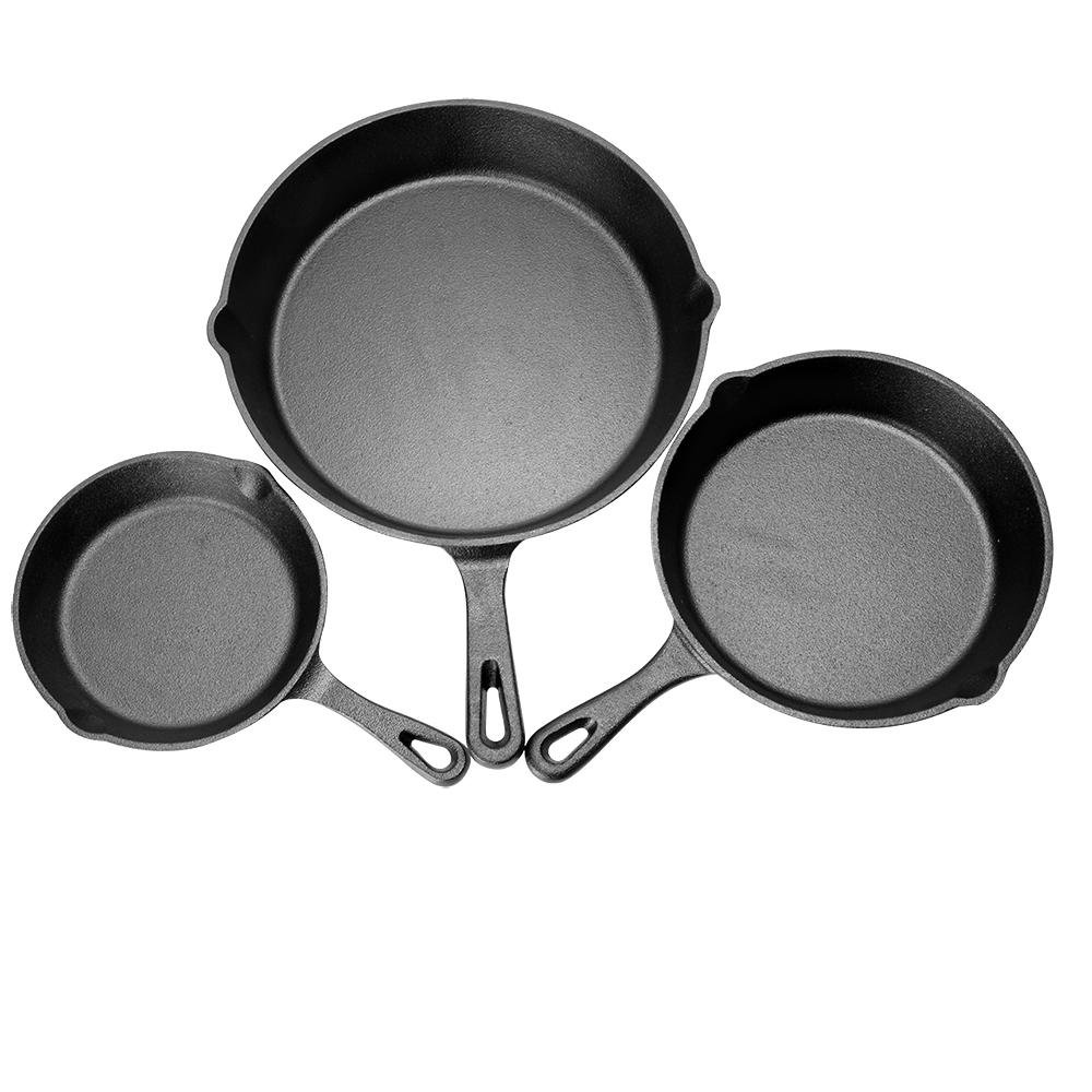 LIVINGbasics™ Pre-Seasoned Cast Iron Skillet 3 Piece Set - 6.3 8 10 Fry Pans - Heavy Duty Professional Restaurant Chef Quality Cookware for Frying, Saute, Cooking
