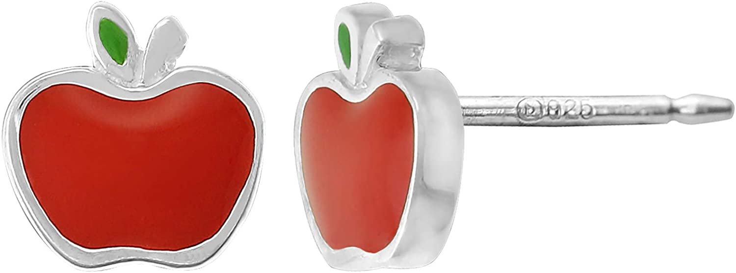 Boma Jewelry Sterling Silver Enamel Red Apple Fruit Stud Earrings