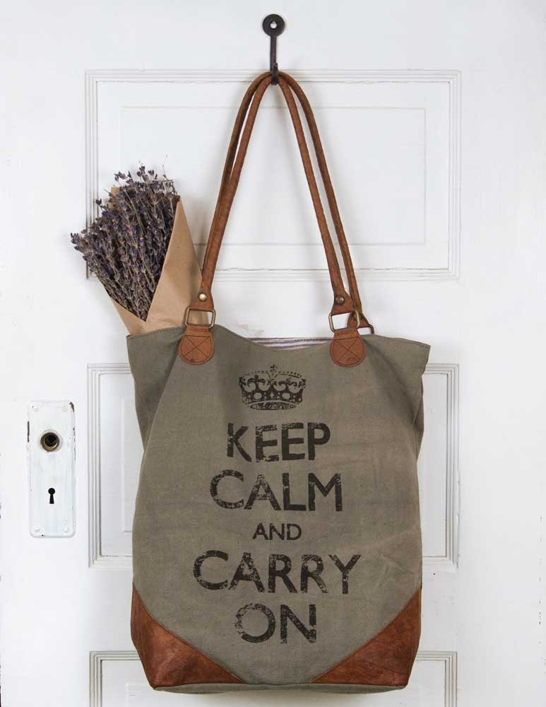 Keep Calm and Carry On Canvas and Leather Tote Bag