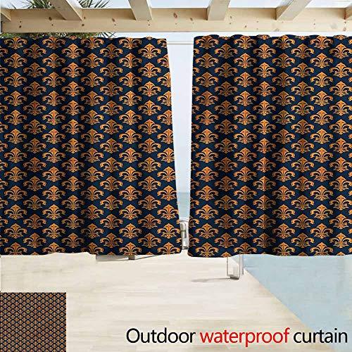 Beihai1Sun Rod Pocket Blackout Curtain Panels Fleur De Lis Western Symbol Outdoor Privacy Porch Curtains W55x63L Inches