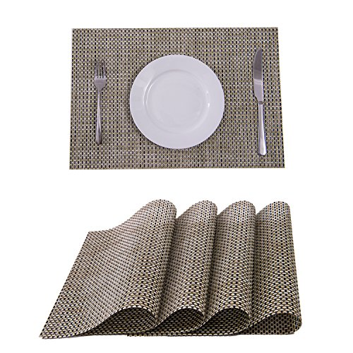 Glass Table Brown Dining (Set of 4 Placemats,Placemats for Dining Table,Heat-resistant Placemats, Stain Resistant Washable PVC Table Mats,Kitchen Table mats(Beige))
