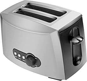 Toaster 2 Slices,Pinzheng Stainless Steel Toaster Automatic Bread Maker Breakfast Baking Machine Two Slot Toast Sandwich Grill Oven Auto-Shutoff Button Removable Crumb Tray for Various Bread Types