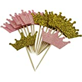 Mybbshower Glitter Pink and Gold Tiara Cupcake Toppers for Birthday Party Table Decoration