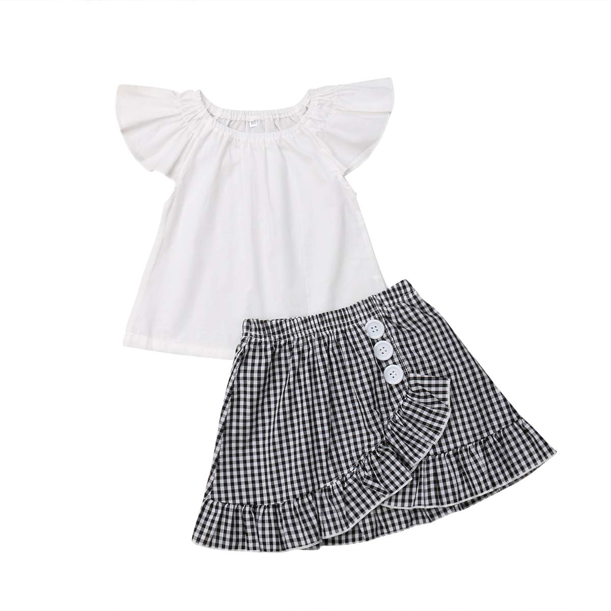 Toddler Baby Girl Fly Short Sleeve T-Shirt Tops+Ruffle Plaid Skirt Outfit Set