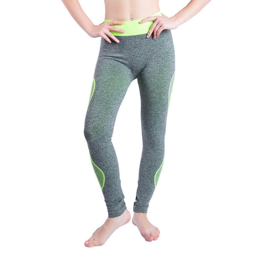 iLUGU Women Gym Yoga Patchwork Sports Running Fitness Leggings Pants Athletic Trouser(S,Green-37)