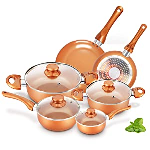 KUTIME 10pcs Cookware Set Pot and Pan Set Non-stick Frying Pans Set Ceramic Coating Soup Pot, Milk Pot, Copper Aluminum Pan with Lid Gas Induction Compatible, 1 Year After sale service