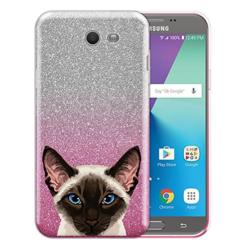 (FINCIBO Case Compatible with Samsung Galaxy J7 2017 Sky Pro, Shiny Pink Gradient 2 Tone Glitter TPU Protector Cover Case for Galaxy J7 2017 Sky Pro (NOT FIT J7 2016) - Chocolate Point Siamese Cat)