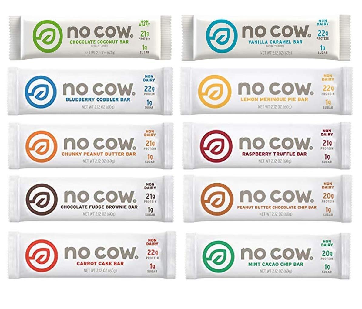 No Cow Protein Bar, Raspberry Truffle, 21g Plant Based Protein, Keto Friendly Low Sugar, Dairy Free, Gluten Free, Vegan, High Fiber, Non-GMO, (16 Count)