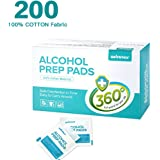 "Alcohol Prep Pads, Sterile, 2.36"" X 2.36"", 100% Soft Cotton Wipes Lock Abundant Liquid, 200 Count Alcohol Wipes"