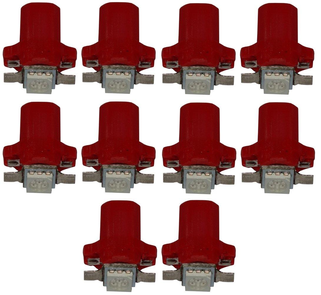 AERZETIX: 10 x Bombillas T5 12V LED SMD para salpicadero Luz rojo SK2-C10375-I19