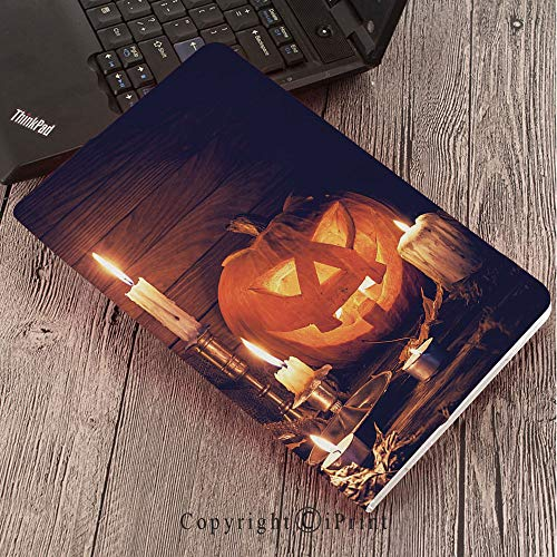 Case for Samsung Galaxy Tab S3 9.7 T820 T825 Slim Folding Stand Cover PU Case, Halloween,Rustic Home Wooden Planks Burning Candles Pumpkin Sackcloth Harvesting Holiday Decorative,Orange -
