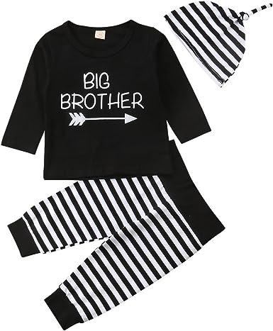 Conjunto de Ropa a Juego BrothersBaby Boys Conjuntos de algodón Camiseta Negra de Manga Larga Romper Trouser Hat 3 Piezas: Amazon.es: Ropa y accesorios