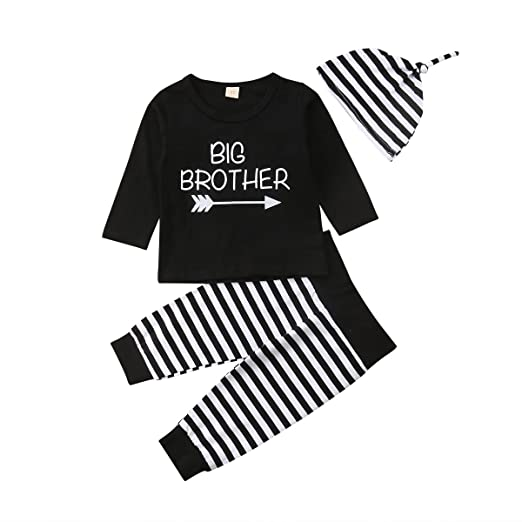 66943ef4b 3Pcs Family Matching Newborn Infant Toddler Baby Boy Big Little Brother  Print Romper T-Shirt