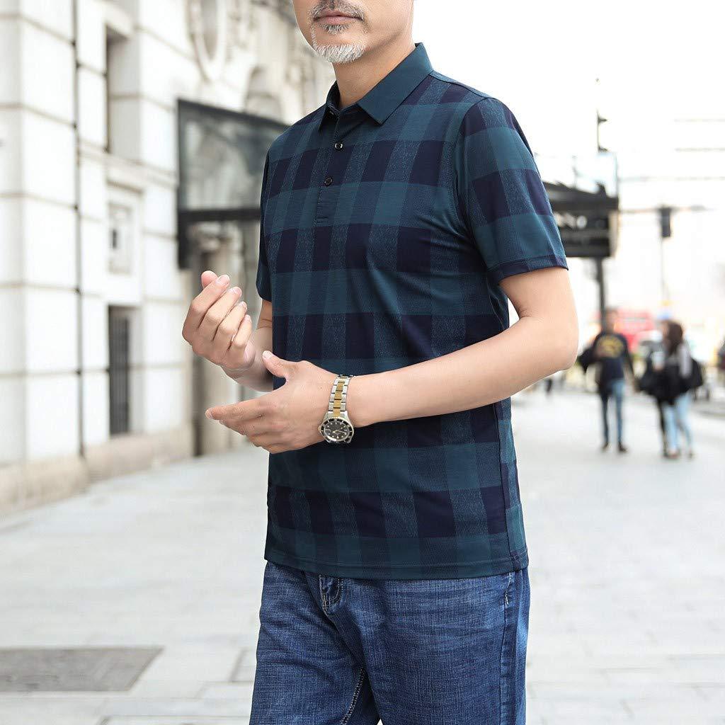 NREALY Camisa Mens Fashion Middle-Aged Plaid Slim Slim Short Sleeve Turn-Down Collar T-Shirts