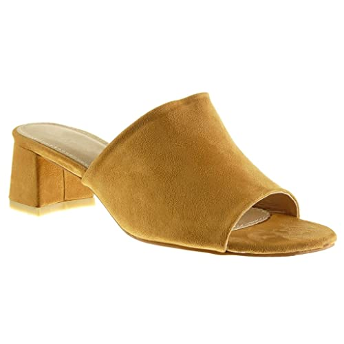 Angkorly Womens Fashion Shoes Sandals Mules Block Heel 5.5 cm